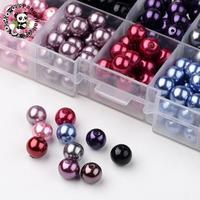 10 اللون البيئي بيرليزيد جولة الزجاج حبات اللؤلؤ ، مصبوغ ، لون مختلطة ، 8 ملليمتر ، ثقب: 1 ملليمتر. حوالي 23 قطع/المقصورة ، 230 قطعة/صندوق