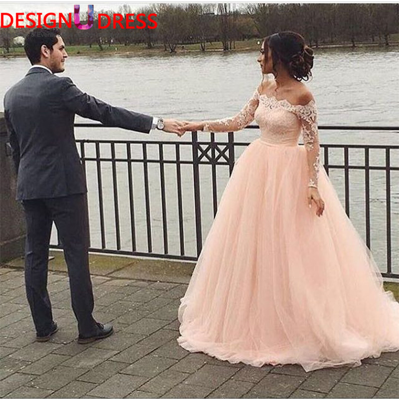 new design coral pink peach wedding dress off shoulder long sleeves lace bodice soft tull wedding gowns princess wedding dresses