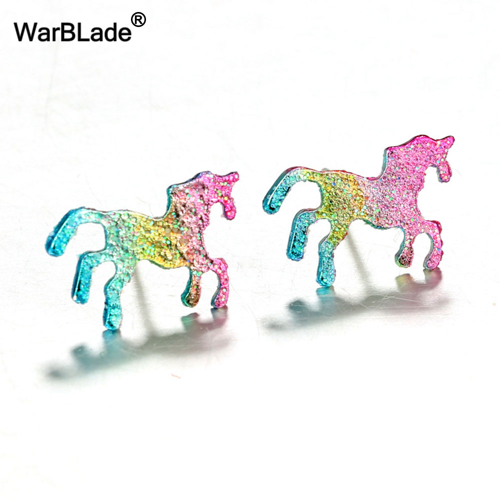 WarBLade 10 pairs/lot Colorful Glitter Unicorn Earrings For Women Men Silver Color Shiny Animal Horse Stud Earring Jewelry Gift