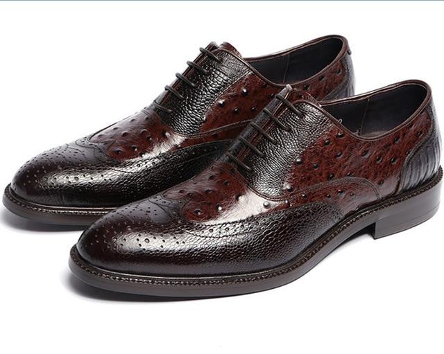 Cow Leather Sole Tan Black Oxfords Mens Social Shoes Genuine