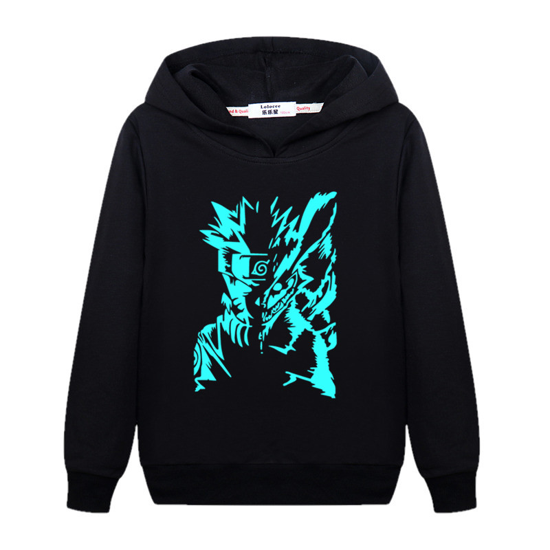 100% Wahr Junge Nachtleuchtende Naruto Schwarz Hoodie Kind Plus Samt Winter Sweatshirt Juvenile Hokage Ninjia Leucht Pullover Dicke Baumwolle Mantel Den Menschen In Ihrem TäGlichen Leben Mehr Komfort Bringen