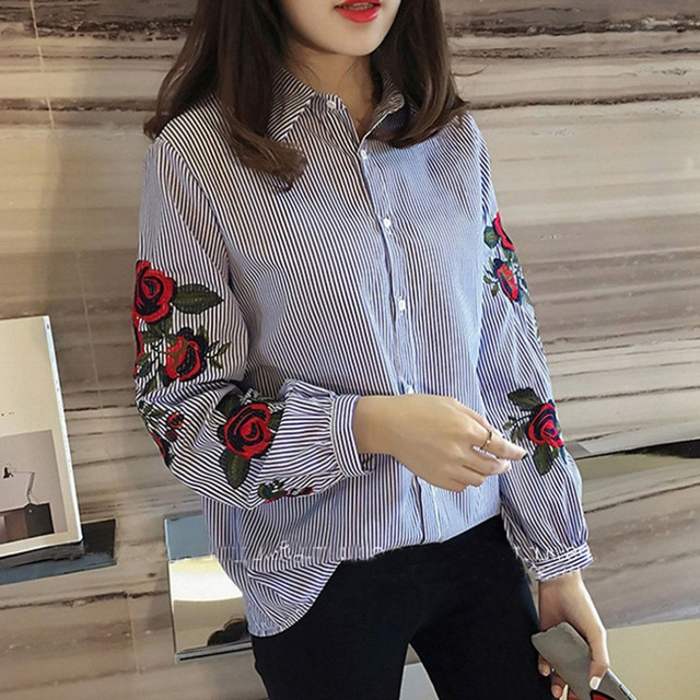 dfa09880 Summer Women Floral Embroidered Striped Shirts Korean Style Loose Blue  White Striped Shirt Tops Students Rose Printed Shirts