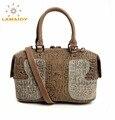 2016 national Unique Embossed design brand handle bag genuine leather handbags women vintage boston totes shoulder