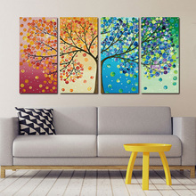 4 Piece canvas painting HD print poster Colourful 4 seasons Tree Wall Art Modular pictures for Home Decor bedroom wall art canvas painting poster colourful leaf trees 4 piece painting wall art modular pictures for home decor wall art picture painting