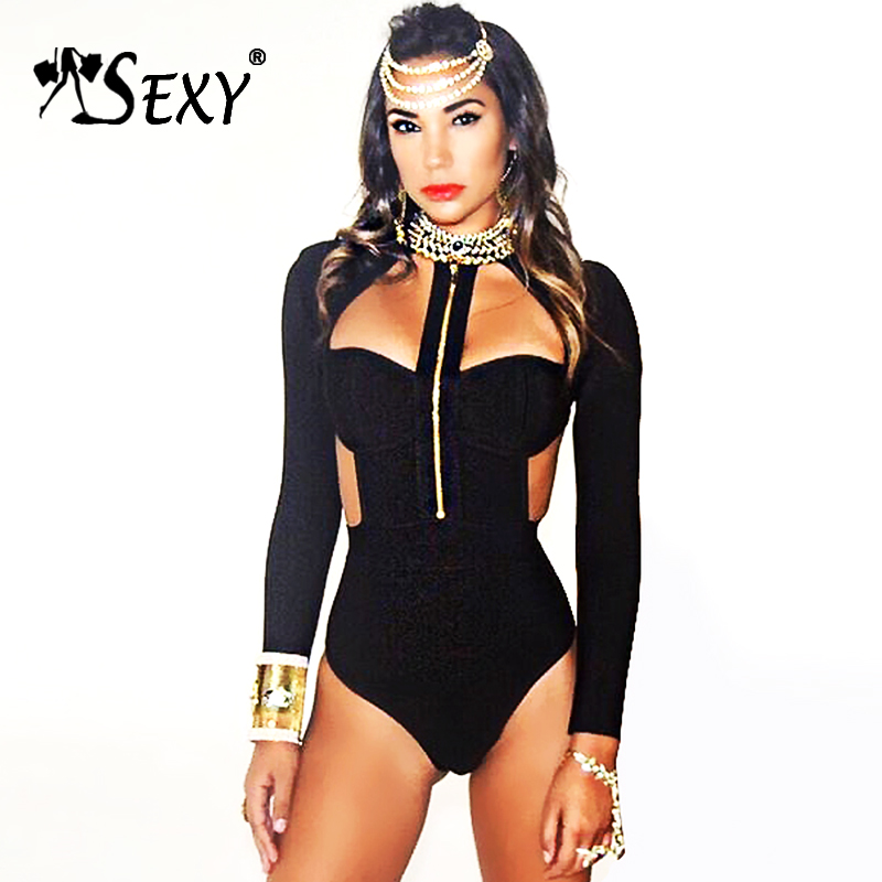 Gosexy 2018 New Fashion Long Sleeve Zipper Cut Out Strap Sexy Bandage Bodysuit Hollow Out