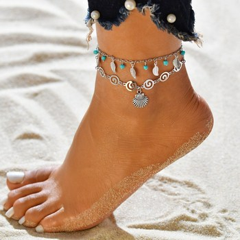 3 pcs/Set Vintage Statement Crystal Sequins Anklet Set Beach Foot jewelry Boho Style Party Summer Jewelry For Women Wholesale 1