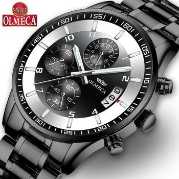 OLMECA Men's Watches Sporty Casual Quartz Analog Watches Military Multi-functions 24 Hours Time Calendar Waterproof Watch