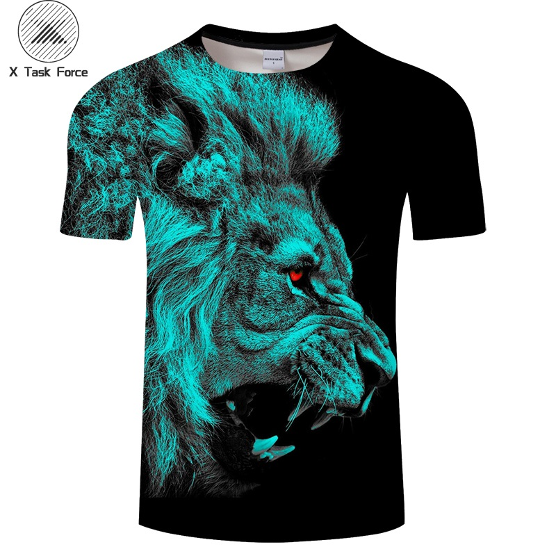 Men's Clothing Tops & Tees Intellective Red Eye Lion Tshirt Men T Shirt Lion T-shirt 3d Animal Top Streatwear Tee Short Sleeve Camiseta Boy Hip Hop Drop Ship Fancy Colours