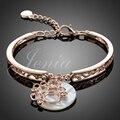 Jenia New! Rose Gold Plated Austrian Crystal Shell Charm Bangle Bracelet Wholesale XB003