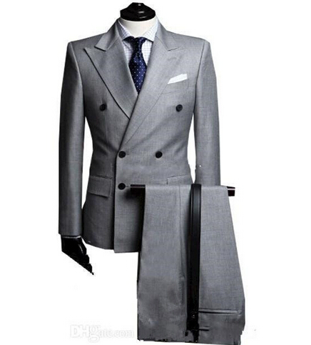 Custom Made Costume Homme Terno Double Breasted Light Grey Groom Suit Peak Lapel Men Wedding Suit For Men ( Jacket+Pants)