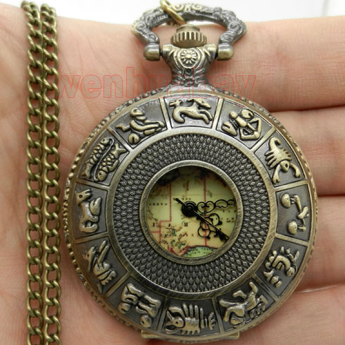 Luxury Hollow Bronze Zodiac Case With Australia Map Dial Fob Pocket Watch With Necklace Chain Drop Shipping