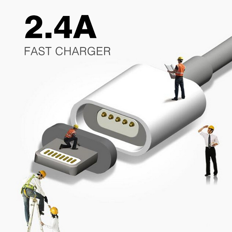 2.4A Fast Charging Magnetic Cable For Samsung Apple iPhone 5 5s 6 6s 7 Plus Mobile Phone Magnet Charger Micro USB Charge