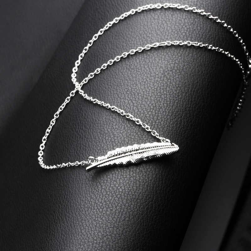 Nowy wisiorek z piórkiem biżuteria dla kobiet Choker Retro naszyjnik z różowego złota Temperament ze stali nierdzewnej akcesoria biżuteryjne