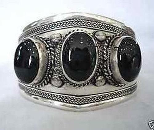 Free Shipping Wholesale price 16new ^^^^Fancy !! Tibet silver black cuff bracelet