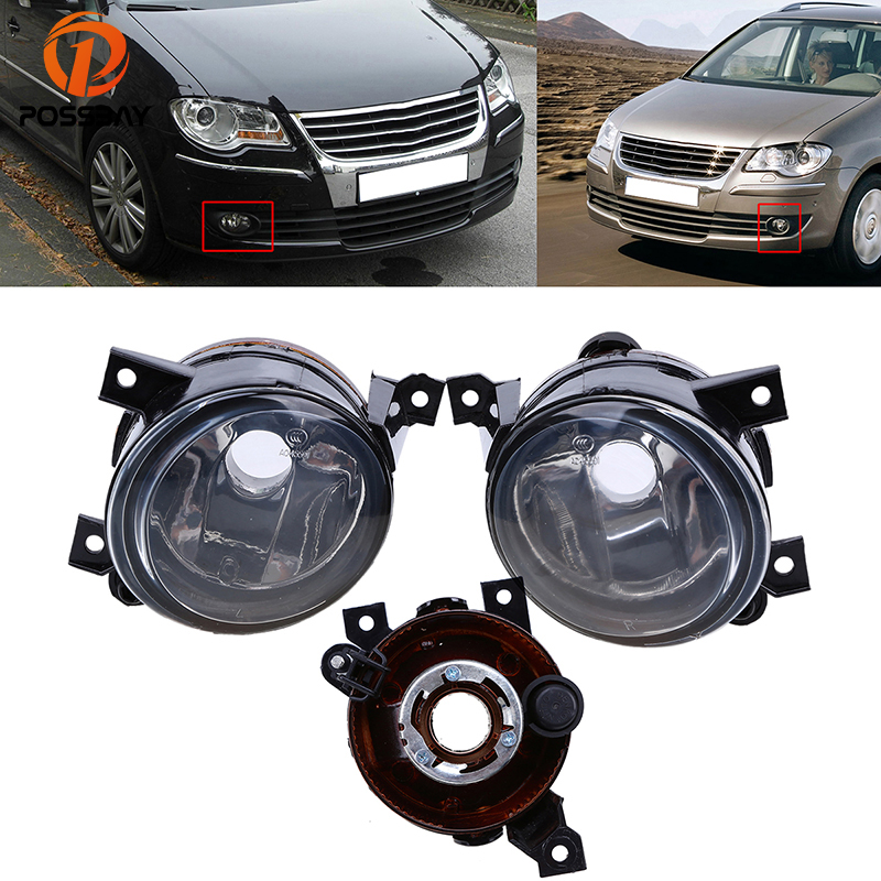 POSSBAY Car Front Fog Light Housing Clear Lens Day Lights for VW Volkswagen Touran 2003 2004 2005 2006 2007 2008 2009 2010 projector lens front fog lights for vw new caddy