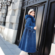 DUOUPA Women sheepskin Coat with Real Fox Fur Collar Woolen Jacket Winter Autumn Slim Lady 2018 Long Overcoat Wool