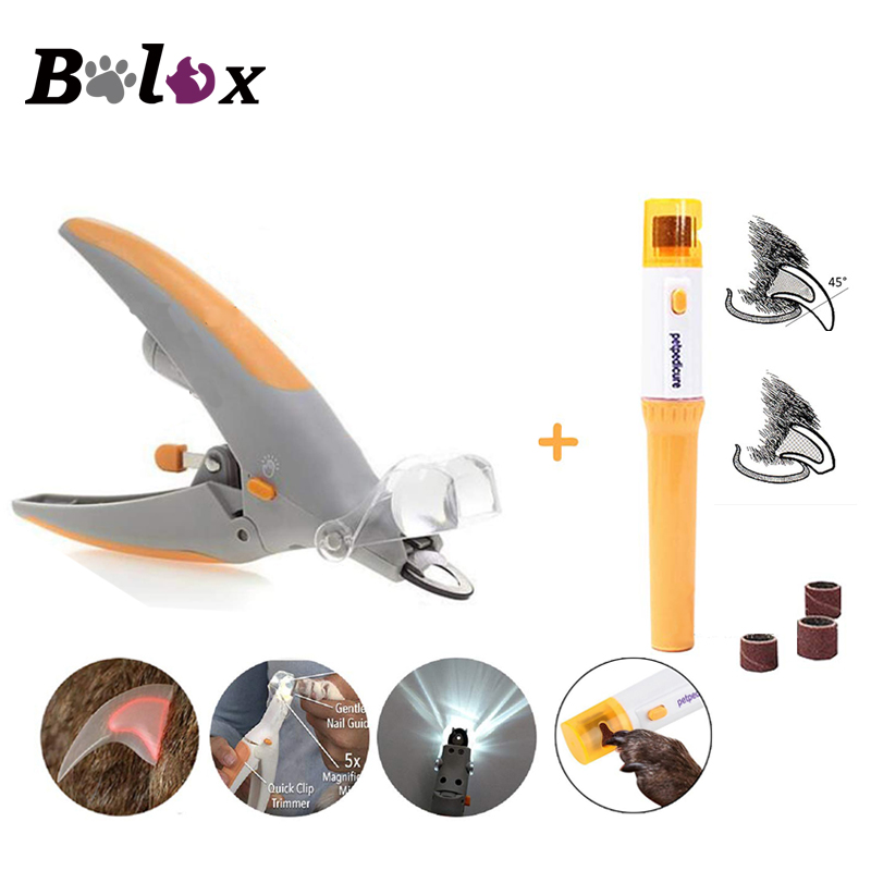 Pet Nail Clipper Pet Grooming Nail Scissors with Super Bright LED Lights and 5X Magnifying Glass for Dog Cat Safety Nail Trimmer image