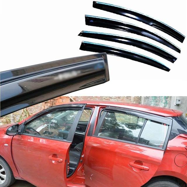 4pcs Windows Vent Visors Rain Guard Dark Sun Shield Deflectors For Toyota Yaris 2014