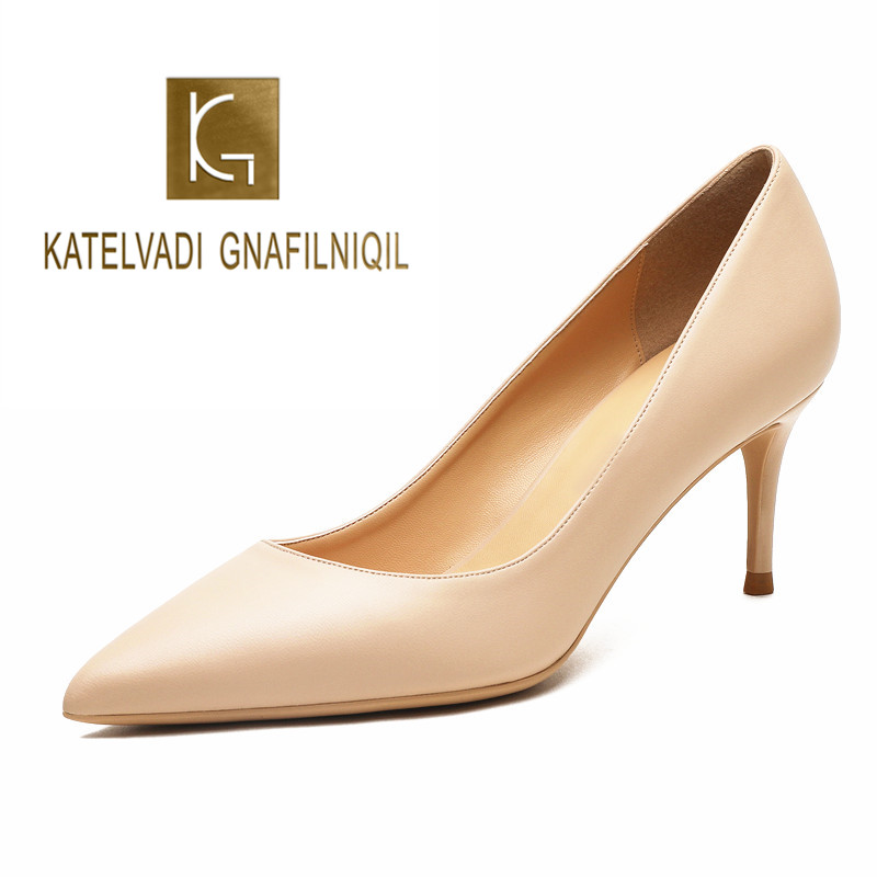 KATELVADI Ladies Shoes Beige Split Leather 6.5CM High Heel Pumps Women Shoes Sapato Feminino Footwear Size 34 42 K 324-in Women's Pumps from Shoes