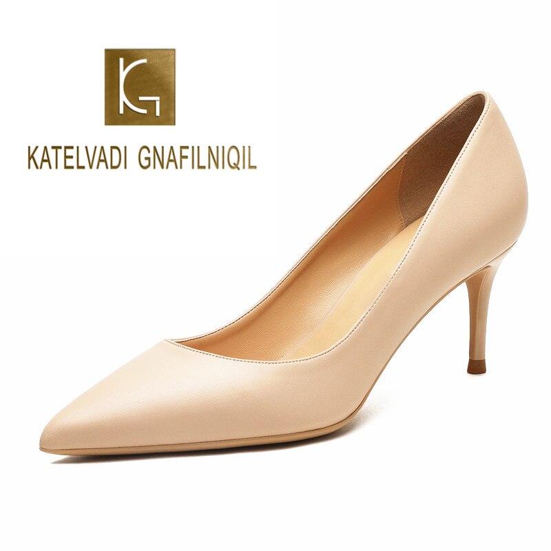 KATELVADI Ladies Shoes Beige Split Leather 6.5CM High Heel Pumps Women Shoes Sapato Feminino Footwear Size 34-42 K-324