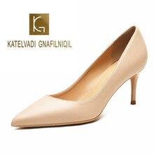 KATELVADI dames chaussures Beige fendu en cuir 6.5CM haut talon pompes femmes chaussures Sapato Feminino chaussures taille 34 42 K 324
