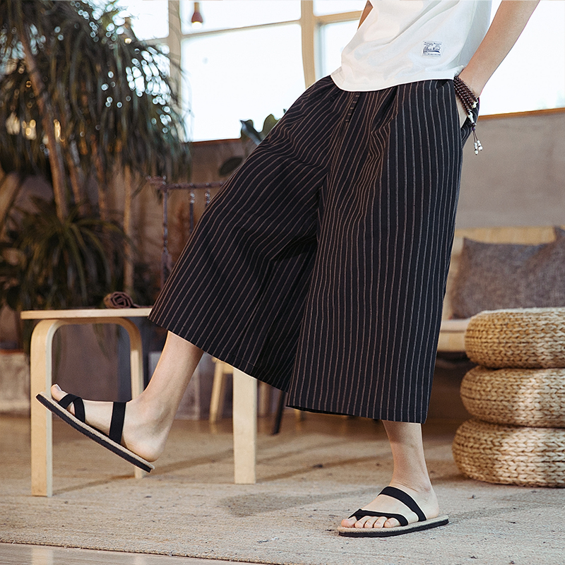 Men Streetwear Cotton Linen Casual Loose Stripe Pant Male Skirt Harem Trousers Streetwear Travel Wide Leg Pant
