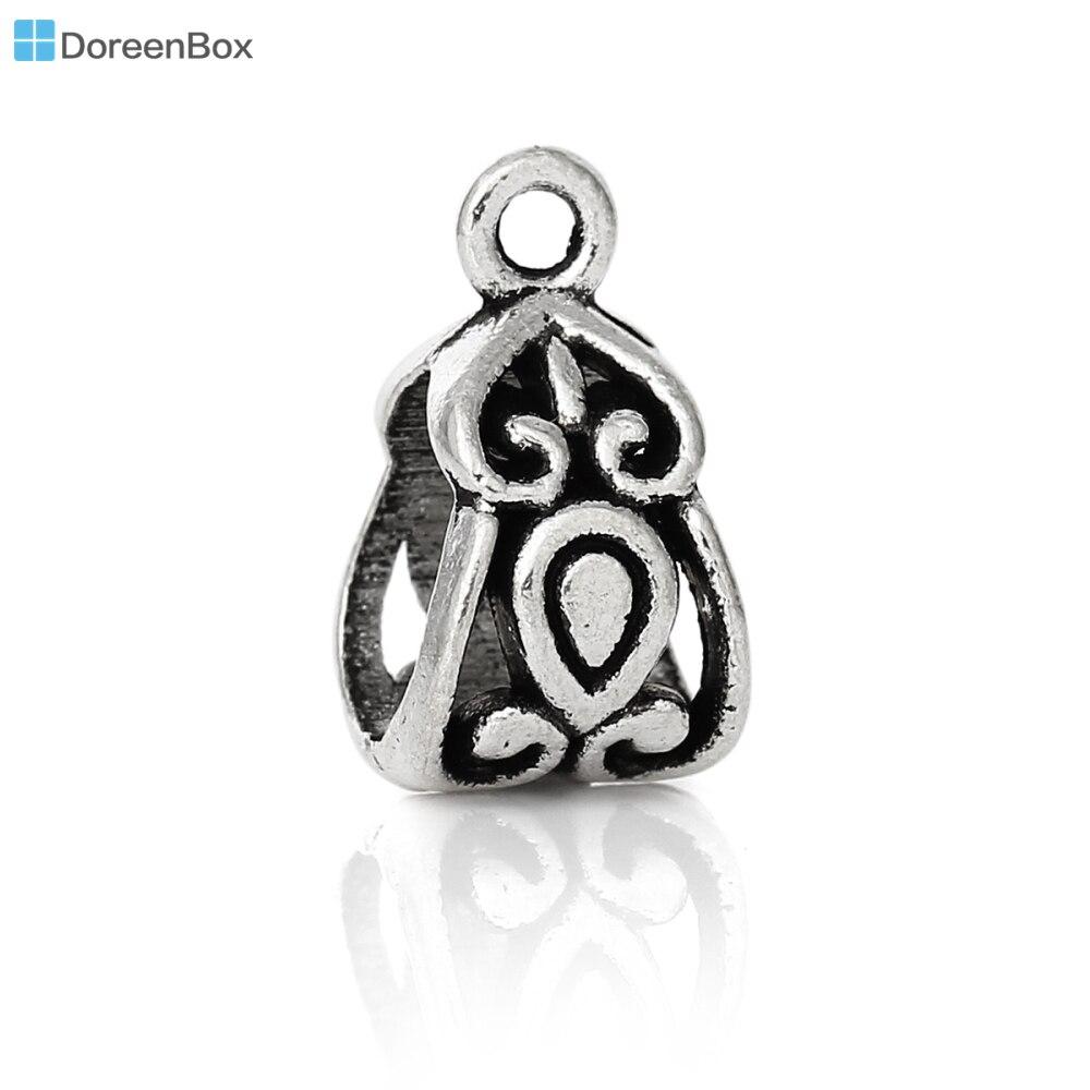 Doreen Box Lovely 50 PCs Silver Tone Bails Beads Fit European Charm Bracelets 14x8mm (B03788) цена и фото