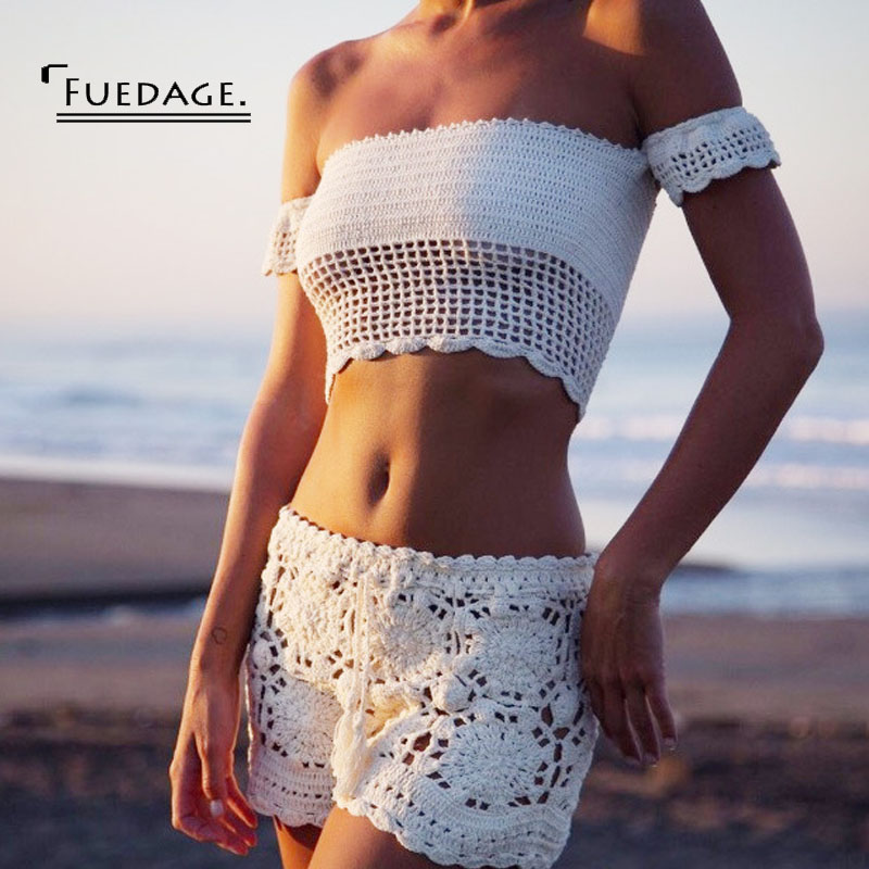 Fuedage Sexy off shoulder knitted tees 2017 fashion Women slash neck short sleeve bustier crop top Bohemian style white tops