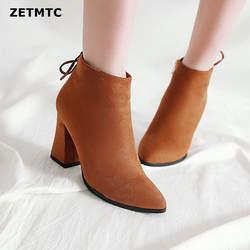 18, женские сапоги, ботильоны на высоком каблуке, модные новые осенние женские полусапожки на массивном каблуке, женская обувь цвета хаки