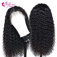 Style Me Afro Kinky Curly Wig 13*4 Lace Front Human Hair Wig For Black Women 150 Density Brazilian Short Bob With Baby Hair Wig