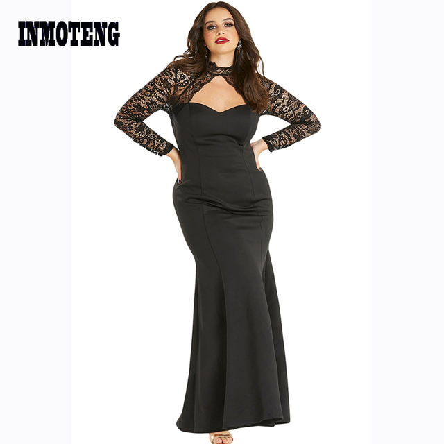 Black Sheer Lace Long Sleeve Plus Size 5XL 4XL Party Dress Ladies Fashion Cutout Accents High Neck and Open Back Elegant Dresses
