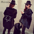 women fashion jacket coat loose cotton Zipper jackets hooded black pentagram printing basic jackets autumn spring jacket women