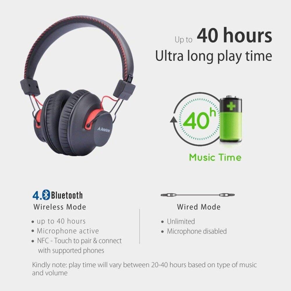 Avantree 40 heures DOUBLE Mode Bluetooth Sur L'oreille Casque avec Mic, Super CONFORTABLE, Sans Fil et Filaire, aptX Salut-fi NFC Casque - 4