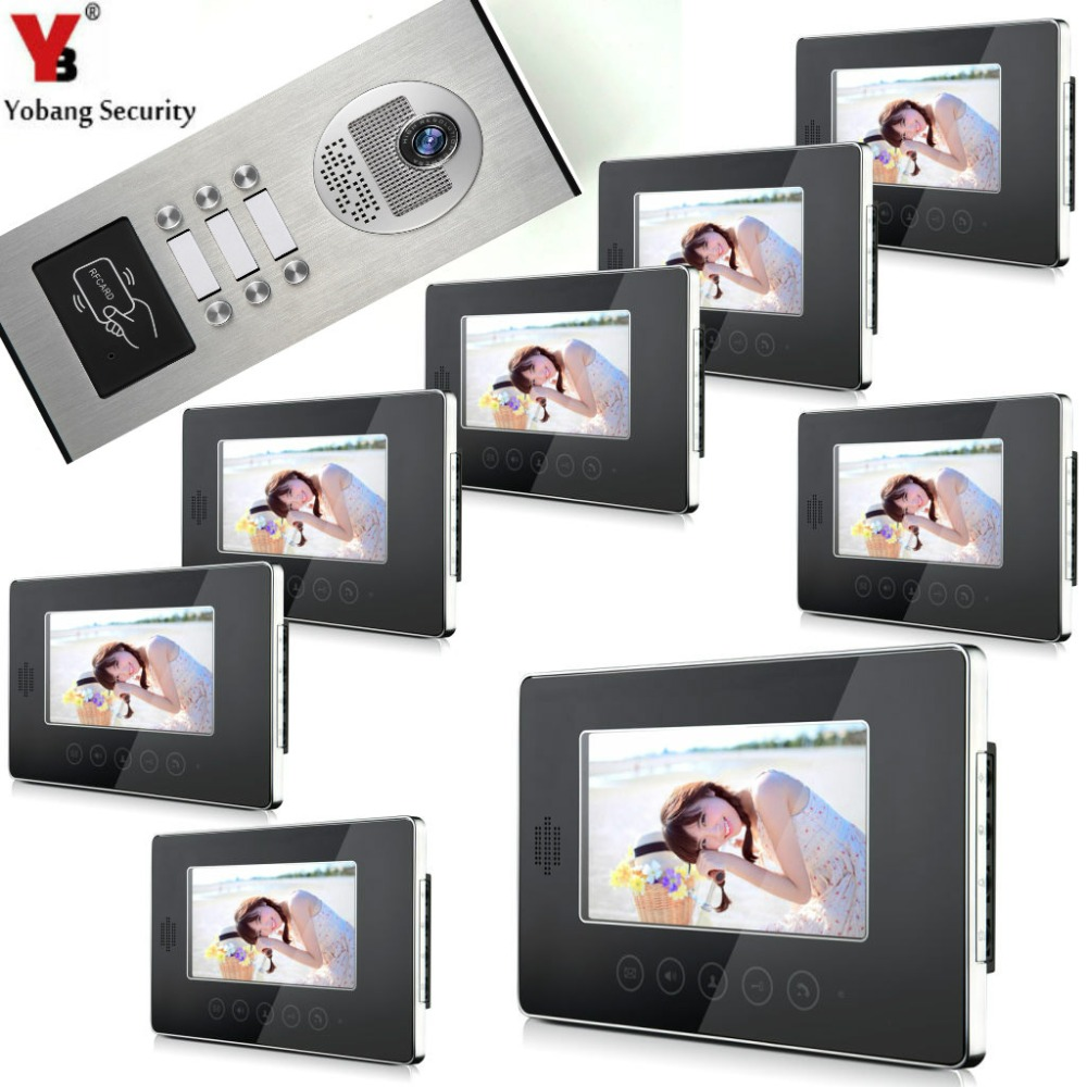 YobangSecurity 7 Wired Video Door Phone Doorbell Intercom Security RFID Access Door Camera Bell System For 8 Multi Apartment jeatone 7 lcd monitor wired video intercom doorbell 1 camera 2 monitors video door phone bell kit for home security system