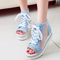 2016 summer new fashion Women shoes mesh shoes fish head platform shoes rhinestone sandals Women sandals