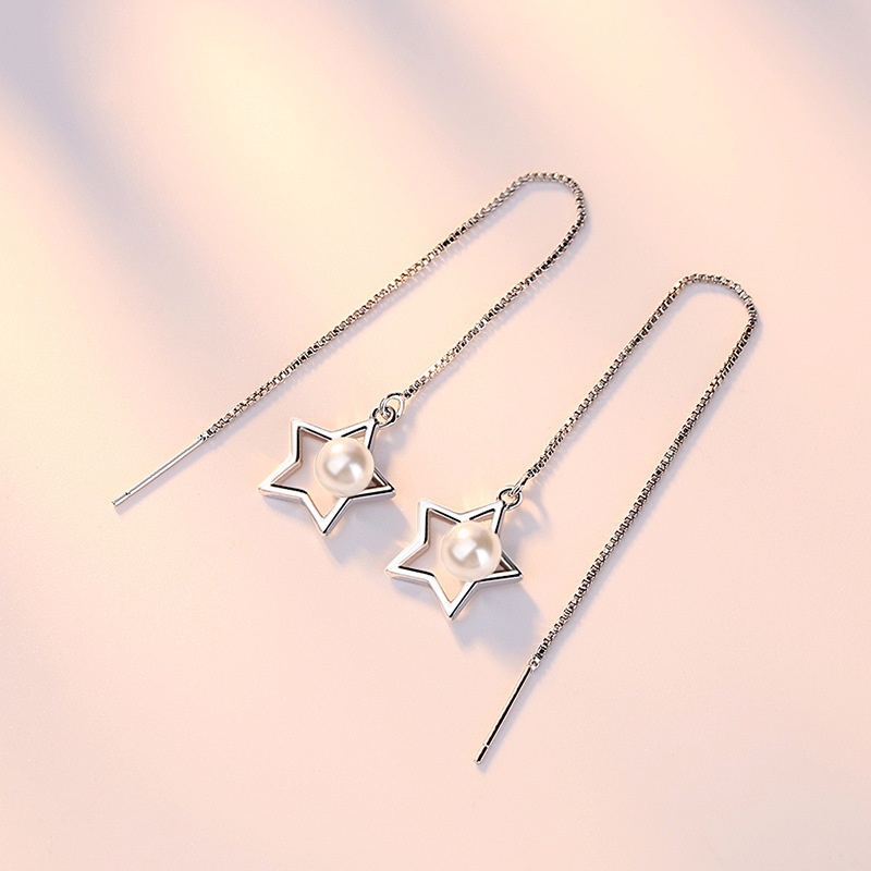100 925 sterling silver fashion little imitation pearl star ladies long stud earrings female jewelry women Valentine 39 s Day gift in Stud Earrings from Jewelry amp Accessories