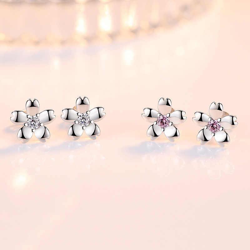 Rose Flower Earing Flower Silver 925 White Purple Rhinestone Crystal Cute Stud Earrings For Women Jewelry Earring Set