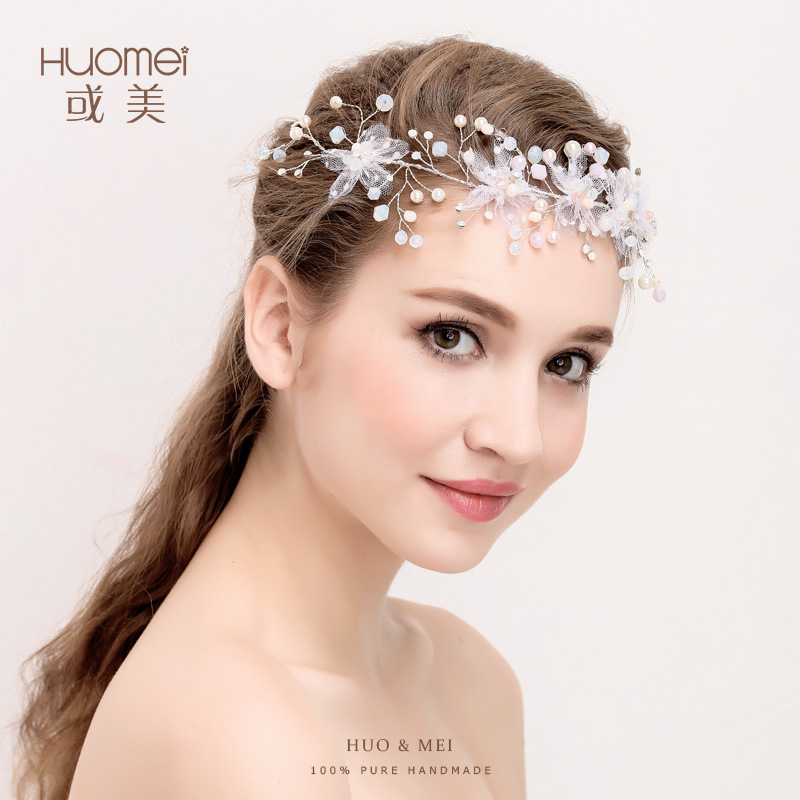 D298 or the bride hair headdress flower silver yarn manufacturers of high-end wedding jewelry wholesale pearl hair band