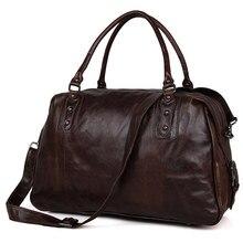 Men  Business Casual Travel Handbags Large Capacity 2018Unisex  Vintage Tote Travel Brand durable Shoulder  bags Brown Messenger