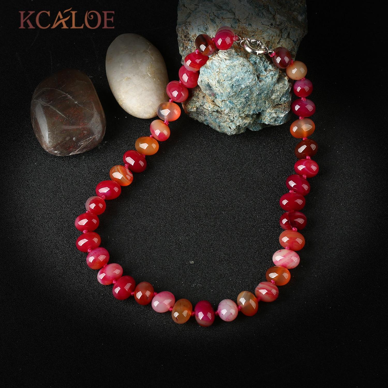 88b519bc6646 Kcaloe rojo semipreciosa Piedras mujeres collar de piedra natural Cuentas gargantillas  Collares hecho a mano anudada joyería Collier