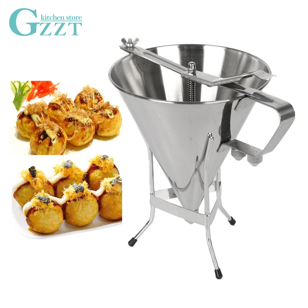 Entonnoir à huile en acier inoxydable GZZT 1.75L entonnoir Takoyaki pieuvre entonnoir de cuisine outil de cuisson entonnoir pour distributeur de mélange de gaufres