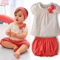 Cabritos del verano del bebé de la cereza Dots camiseta Tops + Pants 2 unids conjunto arco de algodón trajes