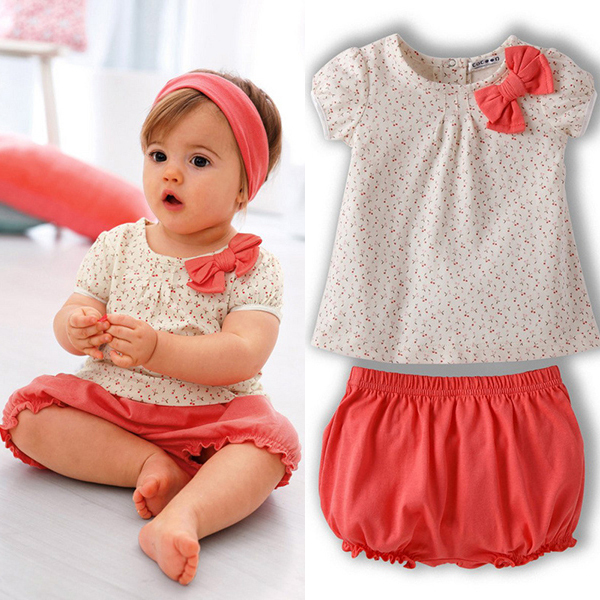 Summer Kids Baby Girl Cherry Dots T-shirt Tops+Pants 2Pcs Set Bow Cotton  Outfits