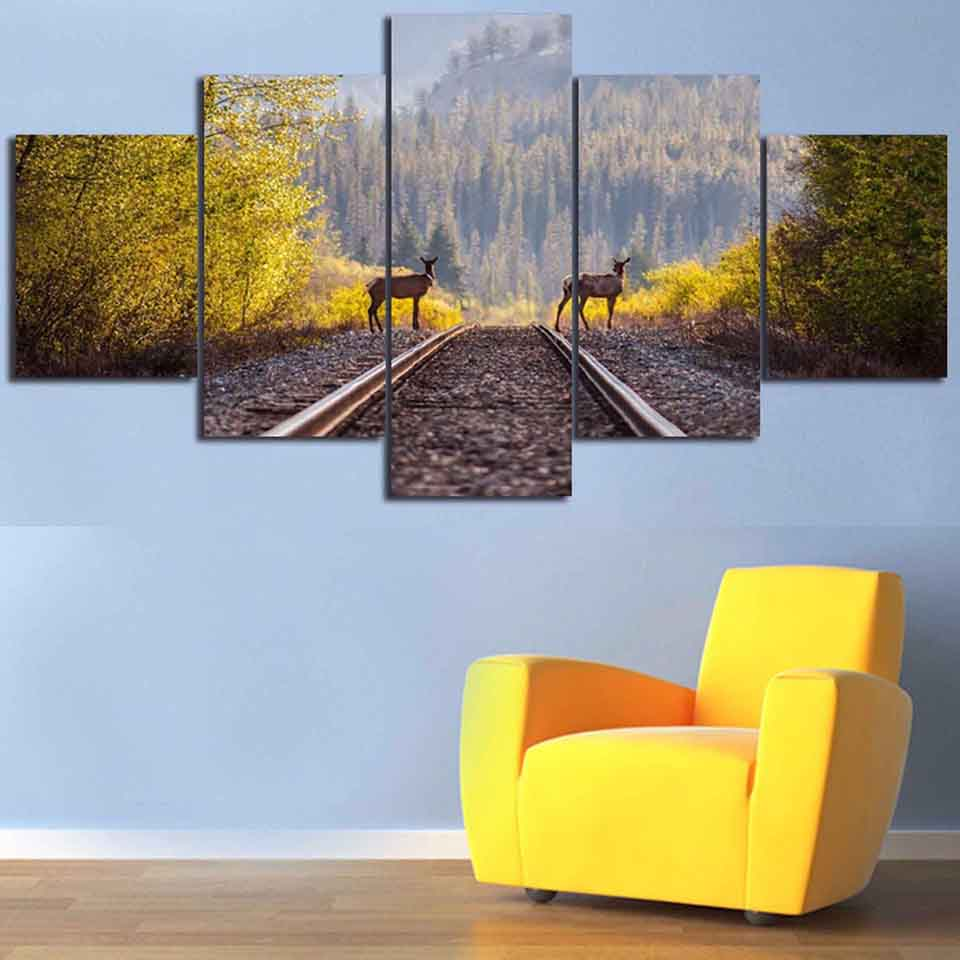 Pictures Frame Living Room HD Print Painting 5 Panel Railway In Forest Landscape Animal Deer Home Decor Poster Modern Wall Art