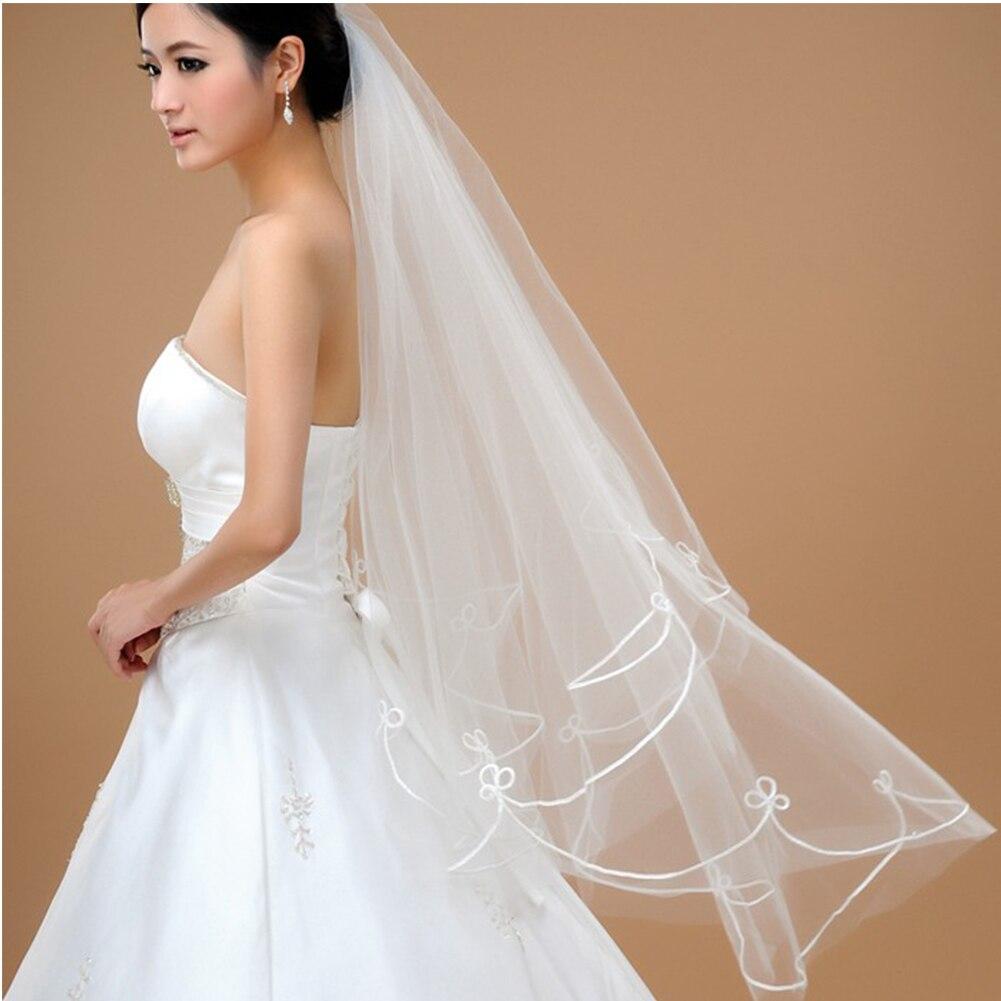 140 Cm Groothandel Goedkope Eenvoudige Tulle Wedding Veils Lint Edge Bridal Toebehoren Wit Ivoor Wedding Veils Accessoires Ov32000