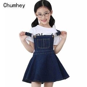 Image 1 - Chumhey 5 14T yaz kız askı elbise kız Denim önlük fişleri Mini elbiseler tulum çocuk giysileri çocuk giyim