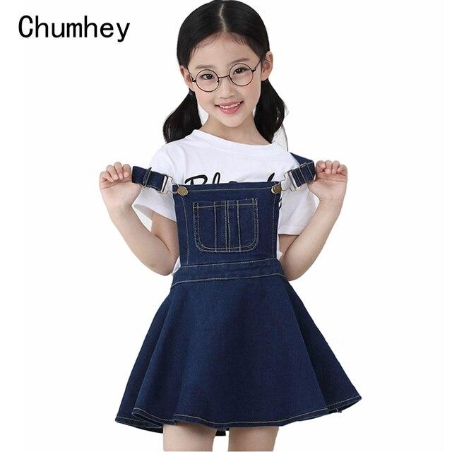 Chumhey 5 14T yaz kız askı elbise kız Denim önlük fişleri Mini elbiseler tulum çocuk giysileri çocuk giyim