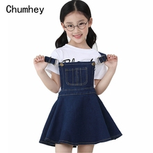 Chumhey 5 14T الصيف الفتيات سوسبندر فستان فتاة الدنيم مريلة زلات فساتين صغيرة وزرة الاطفال ملابس الأطفال الملابس