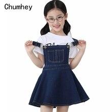 Модель Chumhey, летнее платье на бретелях для девочек, джинсовый нагрудник для девочек, комбинезоны, мини платья, комбинезоны, детская одежда, детская одежда