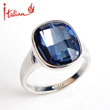 Blue Stone wedding rings for women Sapphire Jewelry Silver Plated mood rings with Austria Crystal anel bijoux top quality